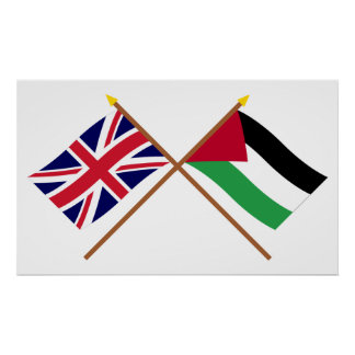 UK and Palestinian Movement Crossed Flags Posters