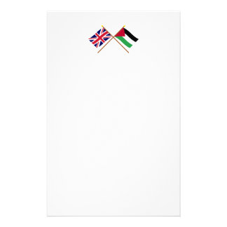 UK and Palestinian Movement Crossed Flags Stationery Paper