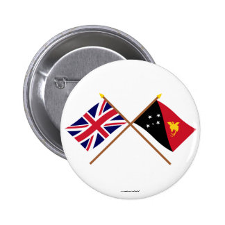 UK and Papua-New Guinea Crossed Flags Pinback Button