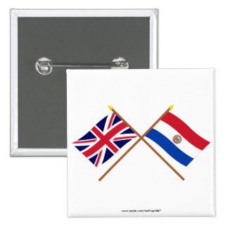 UK and Paraguay Crossed Flags 2 Inch Square Button