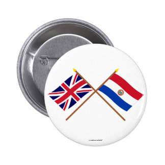 UK and Paraguay Crossed Flags 2 Inch Round Button