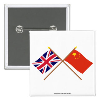 UK and People's Republic of China Crossed Flags Pins