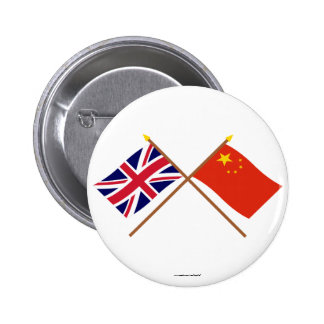 UK and People's Republic of China Crossed Flags Button