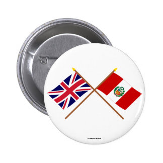 UK and Peru Crossed Flags Button