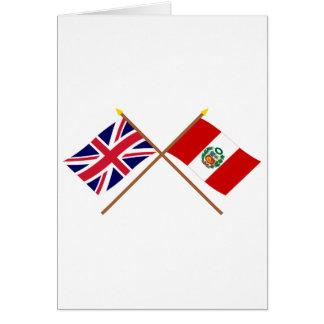 UK and Peru Crossed Flags Card