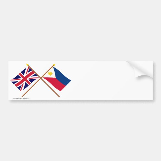 UK and Philippines Crossed Flags Bumper Sticker
