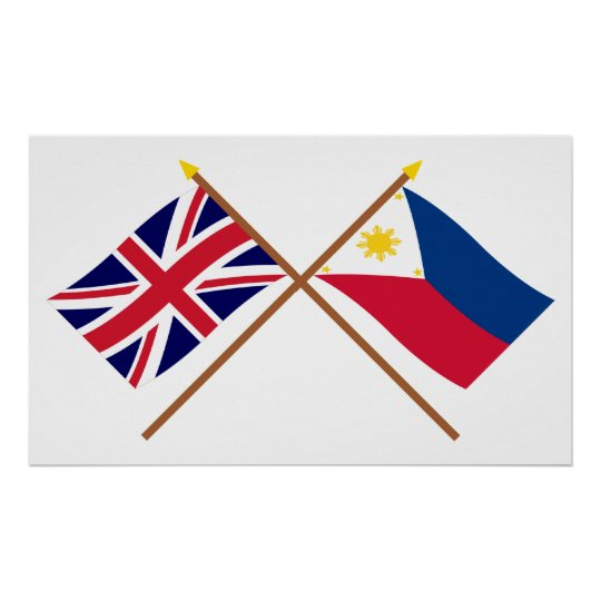 UK and Philippines Crossed Flags Poster