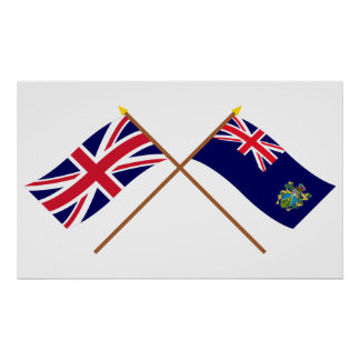UK and Pitcairn Islands Crossed Flags Posters