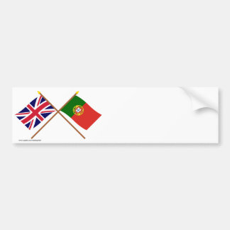 UK and Portugal Crossed Flags Bumper Sticker