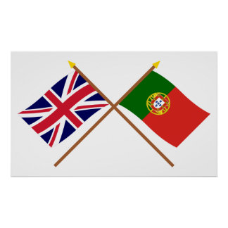UK and Portugal Crossed Flags Poster