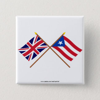 UK and Puerto Rico Crossed Flags Button