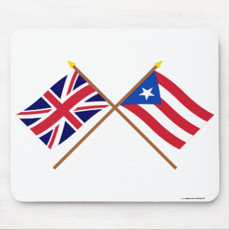 UK and Puerto Rico Crossed Flags Mouse Pad