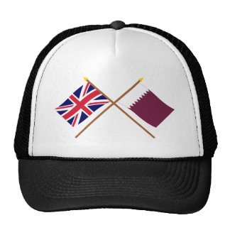 UK and Qatar Crossed Flags Trucker Hat