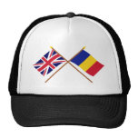 UK and Romania Crossed Flags Mesh Hat