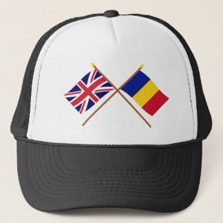 UK and Romania Crossed Flags Trucker Hat