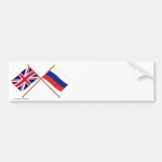 UK and Russia Crossed Flags Bumper Stickers