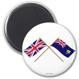 UK and Saint Helena Crossed Flags 2 Inch Round Magnet