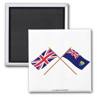 UK and Saint Helena Crossed Flags 2 Inch Square Magnet