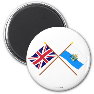 UK and San Marino Crossed Flags Magnet
