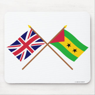 UK and Sao Tome & Principe Crossed Flags Mouse Pad