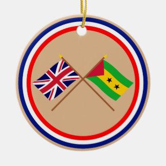 UK and Sao Tome & Principe Crossed Flags Christmas Tree Ornaments