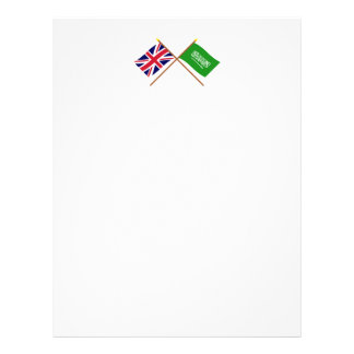 UK and Saudi Arabia Crossed Flags Personalized Letterhead