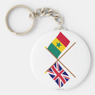 UK and Senegal Crossed Flags Basic Round Button Keychain