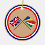 UK and Seychelles Crossed Flags Ornament