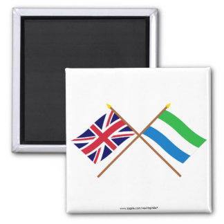 UK and Sierra Leone Crossed Flags Magnets