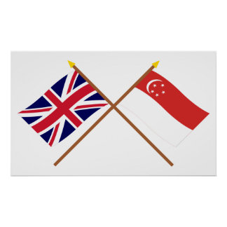 UK and Singapore Crossed Flags Poster