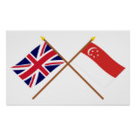 UK and Singapore Crossed Flags Print