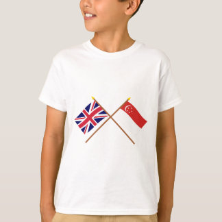 UK and Singapore Crossed Flags T-Shirt