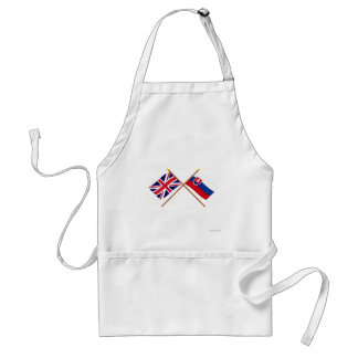 UK and Slovakia Crossed Flags Adult Apron