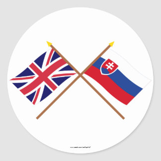 UK and Slovakia Crossed Flags Classic Round Sticker