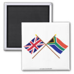 UK and South Africa Crossed Flags 2 Inch Square Magnet