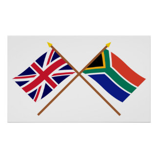 UK and South Africa Crossed Flags Poster
