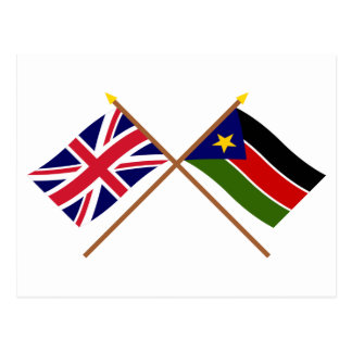 UK and Southern Sudan Crossed Flags Postcard