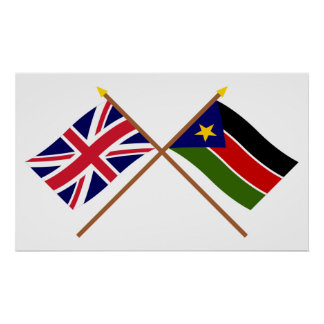 UK and Southern Sudan Crossed Flags Poster