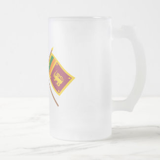 UK and Sri Lanka Crossed Flags Frosted Glass Beer Mug