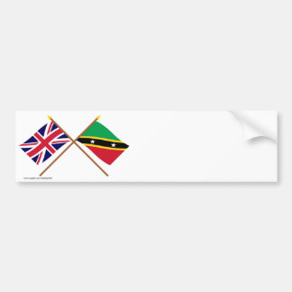 UK and St Kitts & Nevis Crossed Flags Car Bumper Sticker