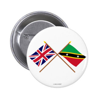 UK and St Kitts & Nevis Crossed Flags Pins