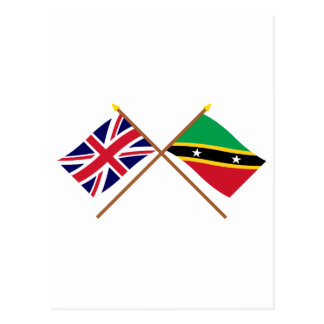 UK and St Kitts & Nevis Crossed Flags Postcard