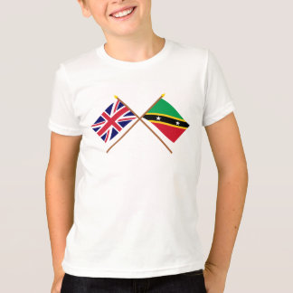 UK and St Kitts & Nevis Crossed Flags T-Shirt