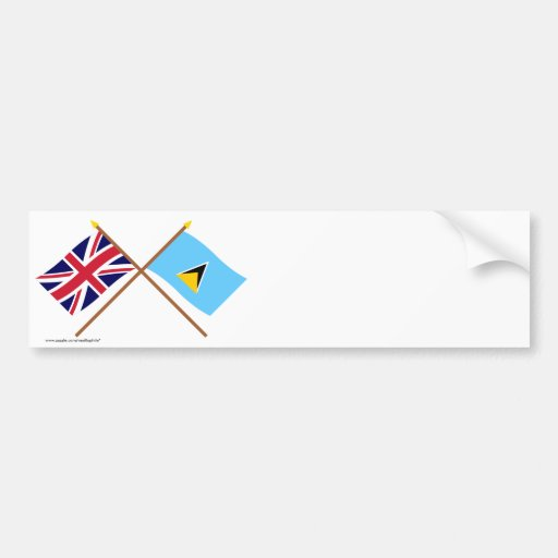 UK and St Lucia Crossed Flags Car Bumper Sticker