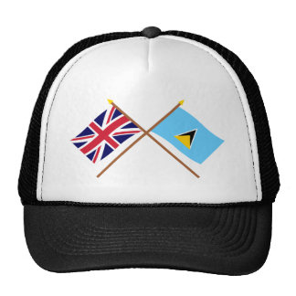 UK and St Lucia Crossed Flags Mesh Hat
