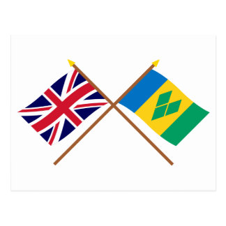UK and St Vincent Crossed Flags Postcard