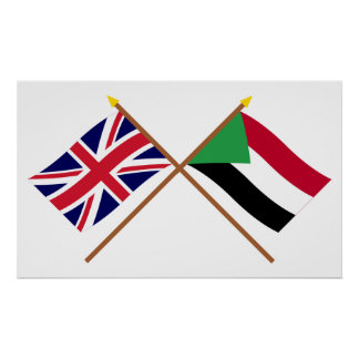 UK and Sudan Crossed Flags Poster