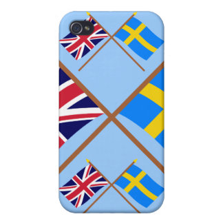 UK and Sweden Crossed Flags iPhone 4 Cases