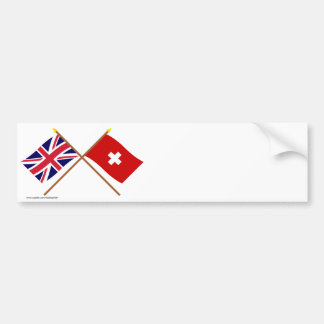 UK and Switzerland Crossed Flags Bumper Stickers