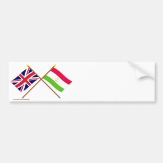 UK and Tajikistan Crossed Flags Bumper Sticker